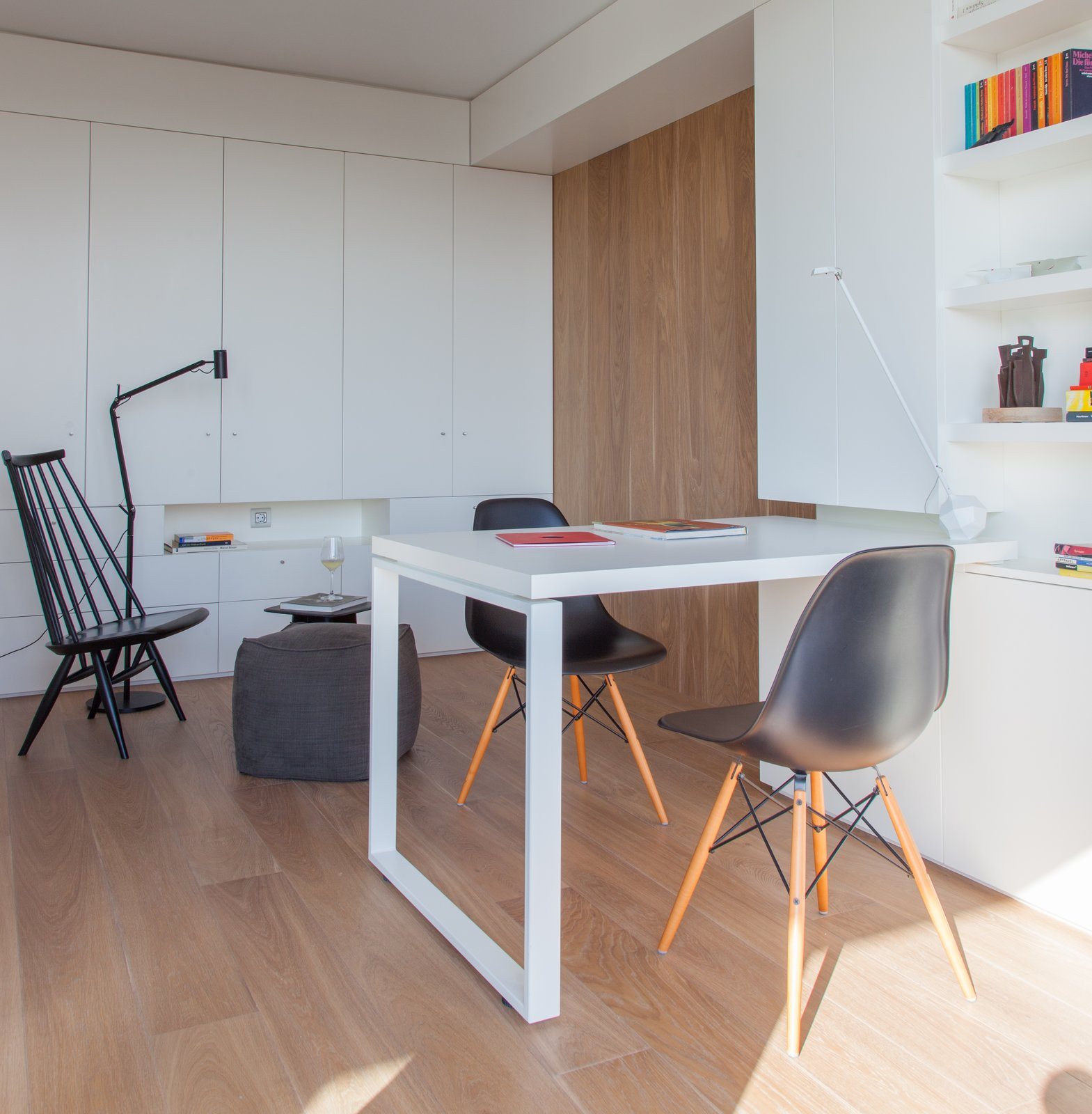 Living, Light Hardwood, Table, Chair, Lamps, Floor, Table, Shelves, End Tables, Storage, and Ottomans  Photo courtesy of Tobias Laarmann  Best Living Light Hardwood Table Photos from Eames Molded Chairs