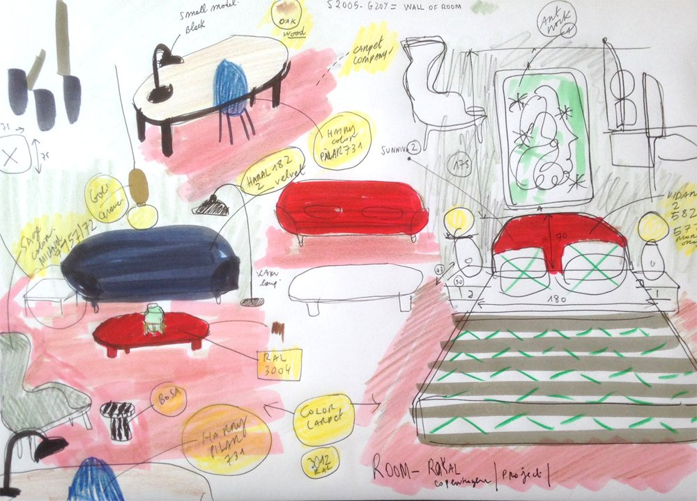Hayon's sketch shows how he mixes color, textiles, and furniture in the room.  Photo 8 of 10 in Jaime Hayon is Given the Keys to an Iconic Copenhagen Hotel