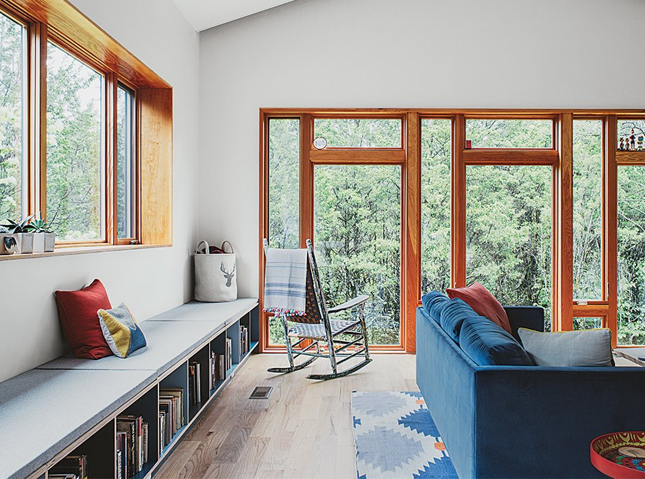 #seatingdesign #seating #livingroom #interior #inside #indoor #bench #couch #rockingchair #cedar #steel #Tennessee #rug #window #light   Photo courtesy of Ross Mantle  100+ Best Modern Seating Designs