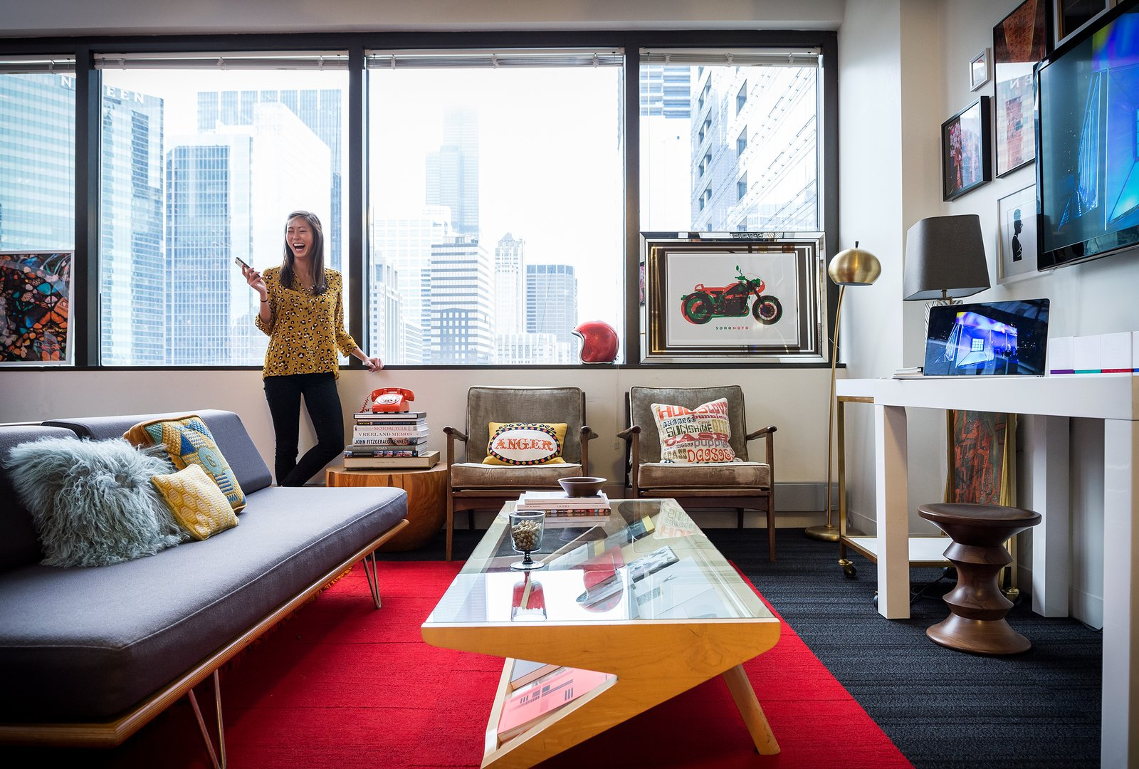 Recently, Surratt has been making the office feel more like home.  Photo 8 of 9 in This is How You Combine Modern Architecture, Flea Market Finds, and Art All Together