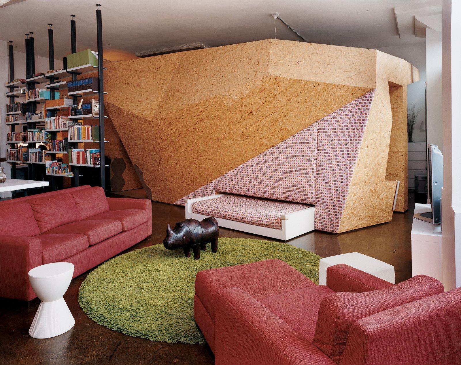 #livingroom #brooklyn #loft #skylights #rug #hiddenbedroom  Photo by Jesse Chehak   Tips for Creating a Comfortable Living Room by Drew McGukin