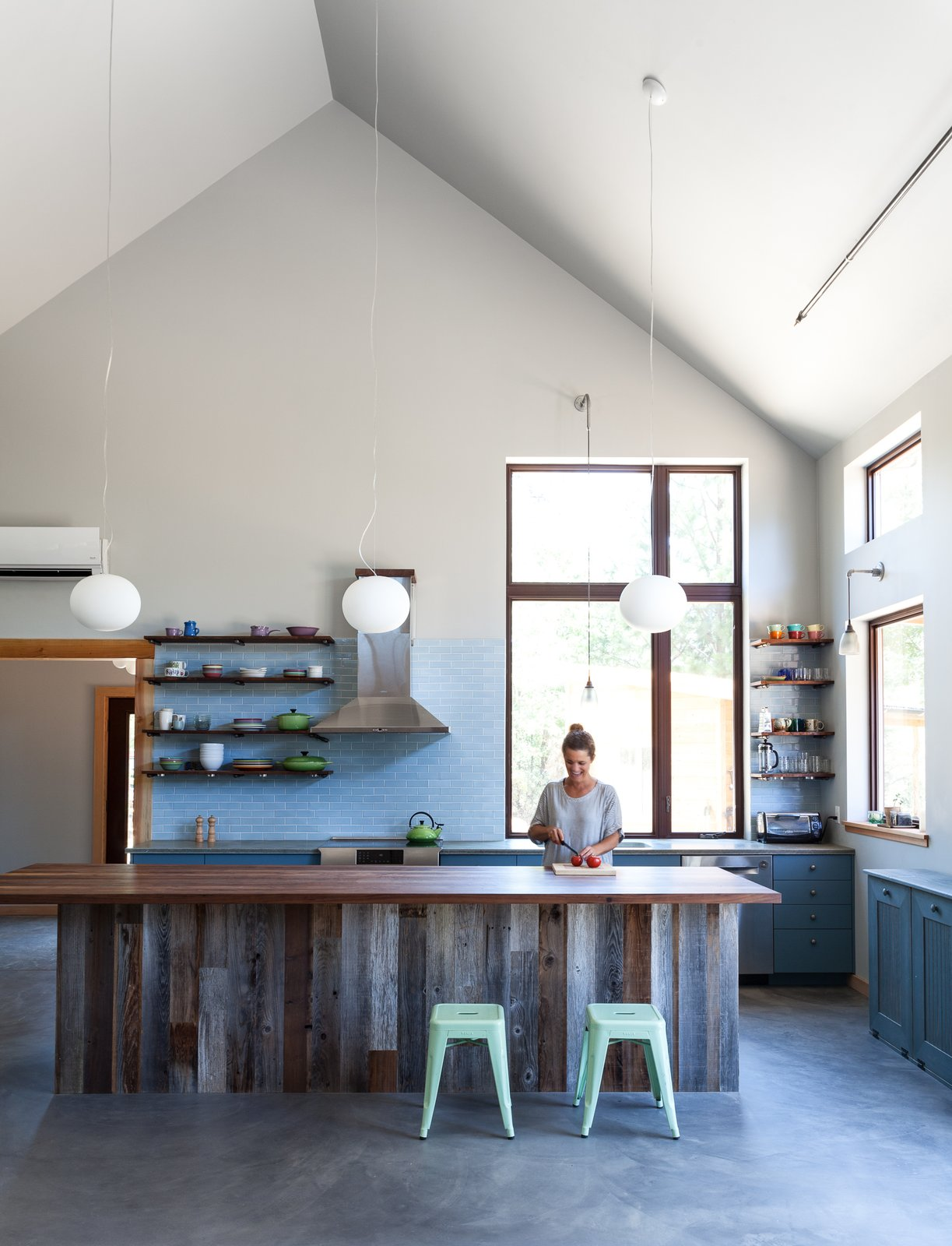 #open #kitchen #northern #california #highceilings #tile #wood #concrete  Photo by Kat Alves   Kitchen from Kitchens