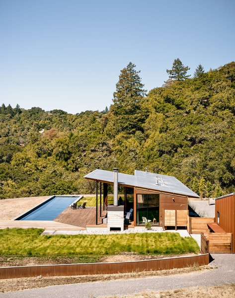 A tradition of weekend hiking trips served as the premise for Jeff and Millie Baird's off-the-grid retreat in California's Sonoma County. Affectionately named Camp Baird, the home is located on a 165-acre parcel near a campsite the couple and their two young daughters had visited for years. Architect Malcolm Davis worked with contractors Fairweather & Associates on the new build; landscape architect Cary Bush of Merge Studio incorporated drought-resistant nativeplantings into the property.