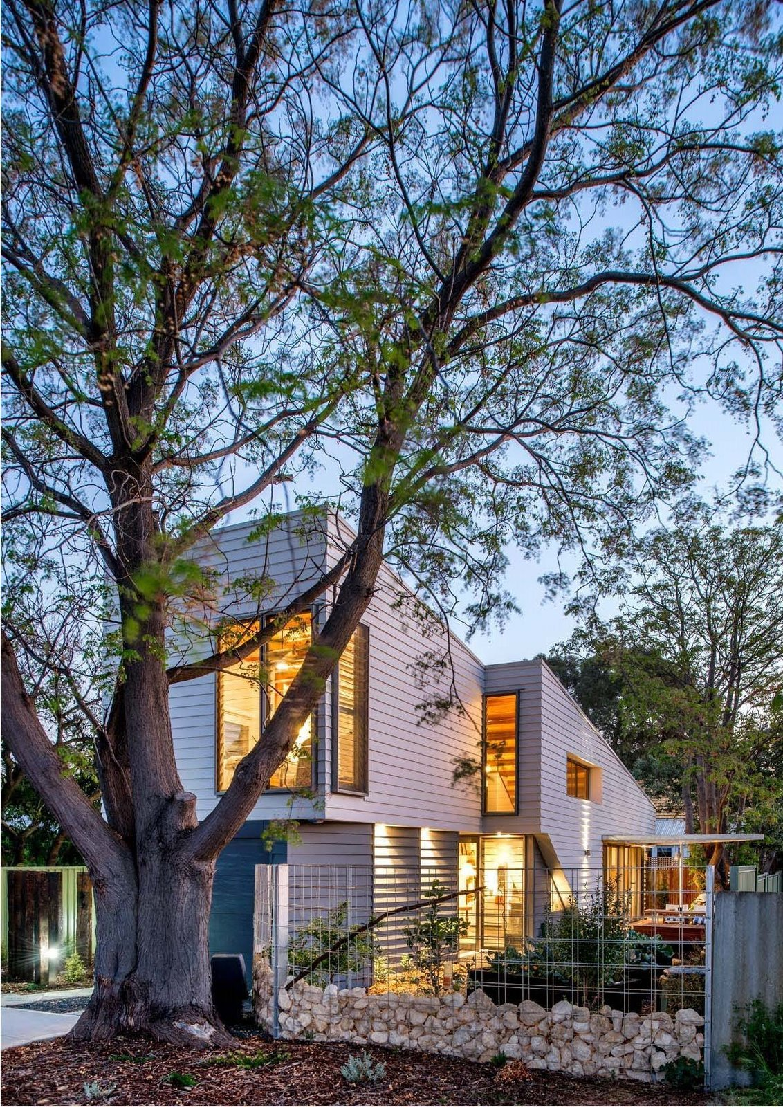 Exterior, House Building Type, and Wood Siding Material The house in Western Australia addresses two main concerns: environmental sustainability and aging in place.  Photo 2 of 6 in Thin, Mint: A Eco-Friendly House Rises in Compact Quarters