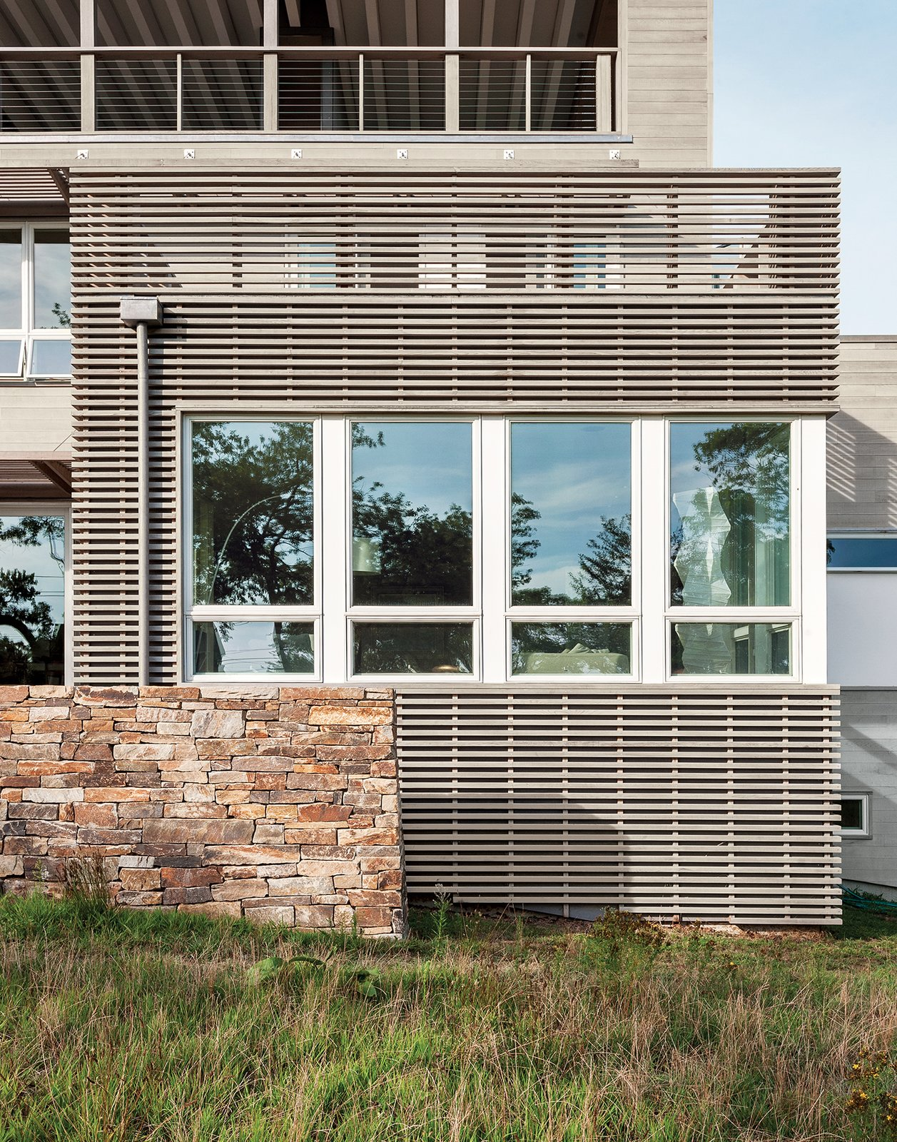 The two-foot-thick stacked stone walls constructed by Reed Hilderbrand nod to the masonry-free walls common in Revolutionary-era New England.  Photo 12 of 12 in The Soothing Sounds of Nature Fill Up This Island Prefab