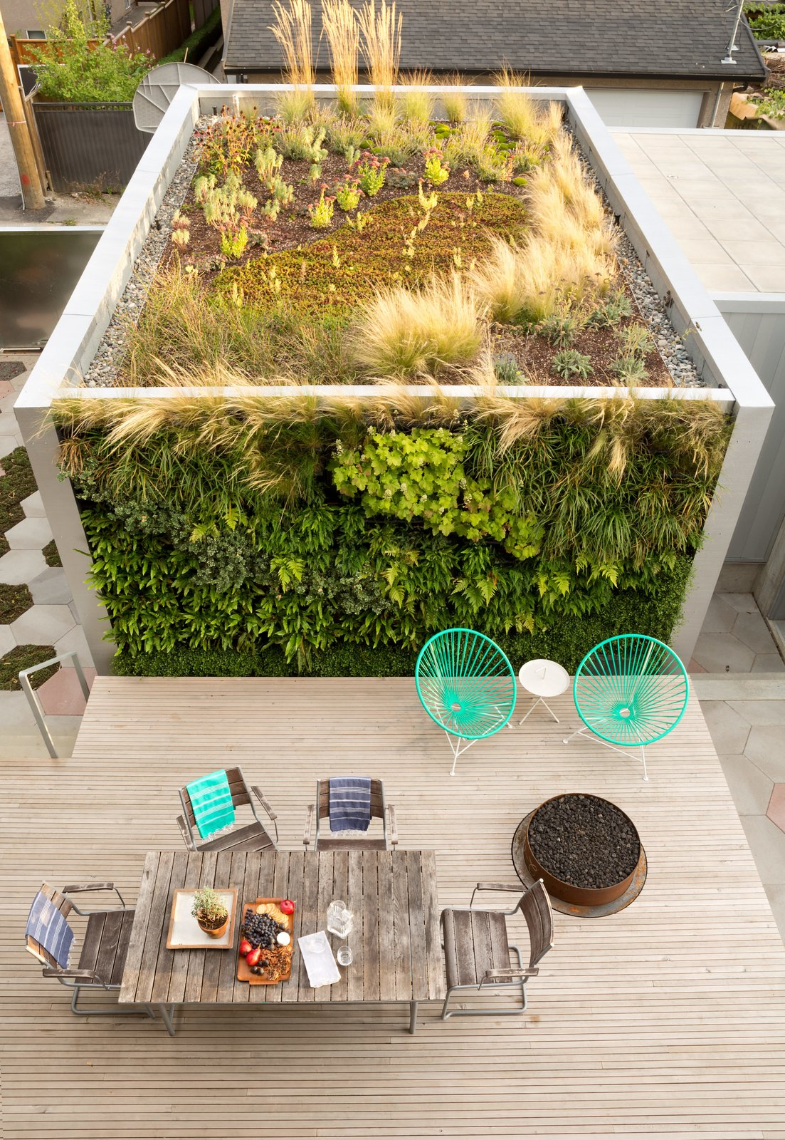 Rooftop, Wood Patio, Porch, Deck, Large Patio, Porch, Deck, Exterior, and Green Roof Material Designer Monica Berdin—who is married to architect Clinton Cuddington—worked with Aloe Designs to cover two sides of their backyard studio in drought-tolerant flora. A sheltered deck features a custom fire pit and a pair of turquoise Condesa chairs.  Photo 2 of 5 in A Wild Garden Leaps Off the Walls of This Backyard Build