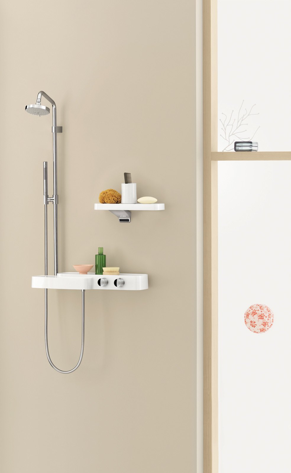#bath #spa #bath&spa #modern #interior #fixtures #faucets #mineral-cast #shelves #sink #AxorBouroullec #productline #fixtureline  Photo courtesy of Axor Bouroullec  Photo 10 of 22 in Bath & Spa Intrigue