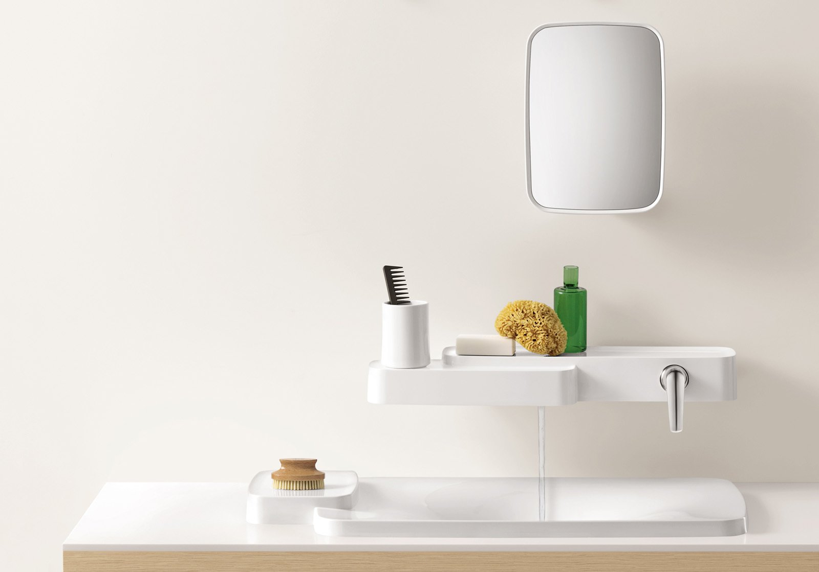 #bath #spa #bath&spa #modern #interior #fixtures #facucets #mineral-cast #shelves #sink #AxorBouroullec #productline #fixtureline  Photo courtesy of Axor Bouroullec  Photo 12 of 22 in Bath & Spa Intrigue