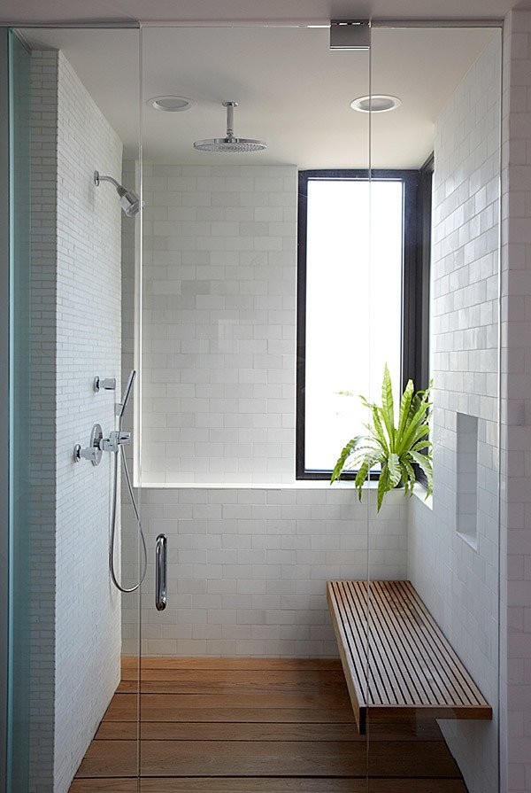 minimalist bathroom ideas shower wooden bench
