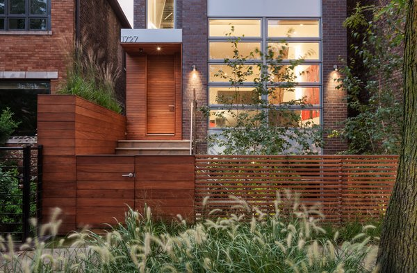 Thanks in part to landscape architect James C. Differding, the residents can enjoy the outdoors on all four levels, from the pocket garden that buffers the house from the street.