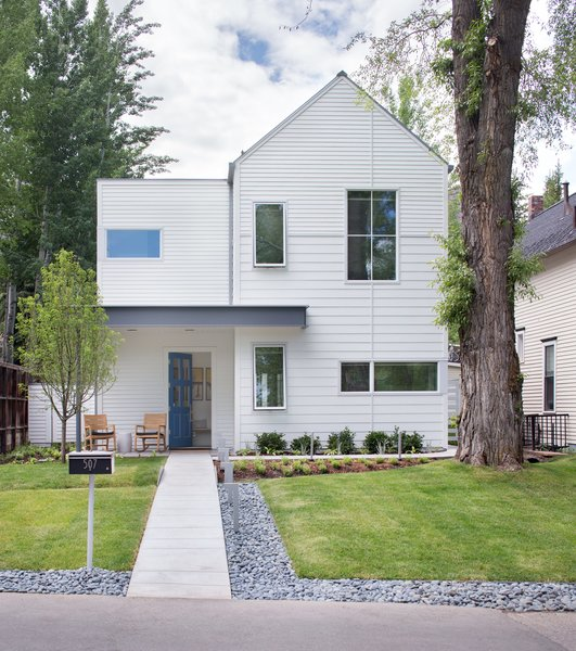 Exterior, House Building Type, and Gable RoofLine Located in a historic mining neighborhood, the house is a modern take on the 19th-century cabins that dot the area.  Photo 2 of 8 in How One Aspen House Lives Up to LEED