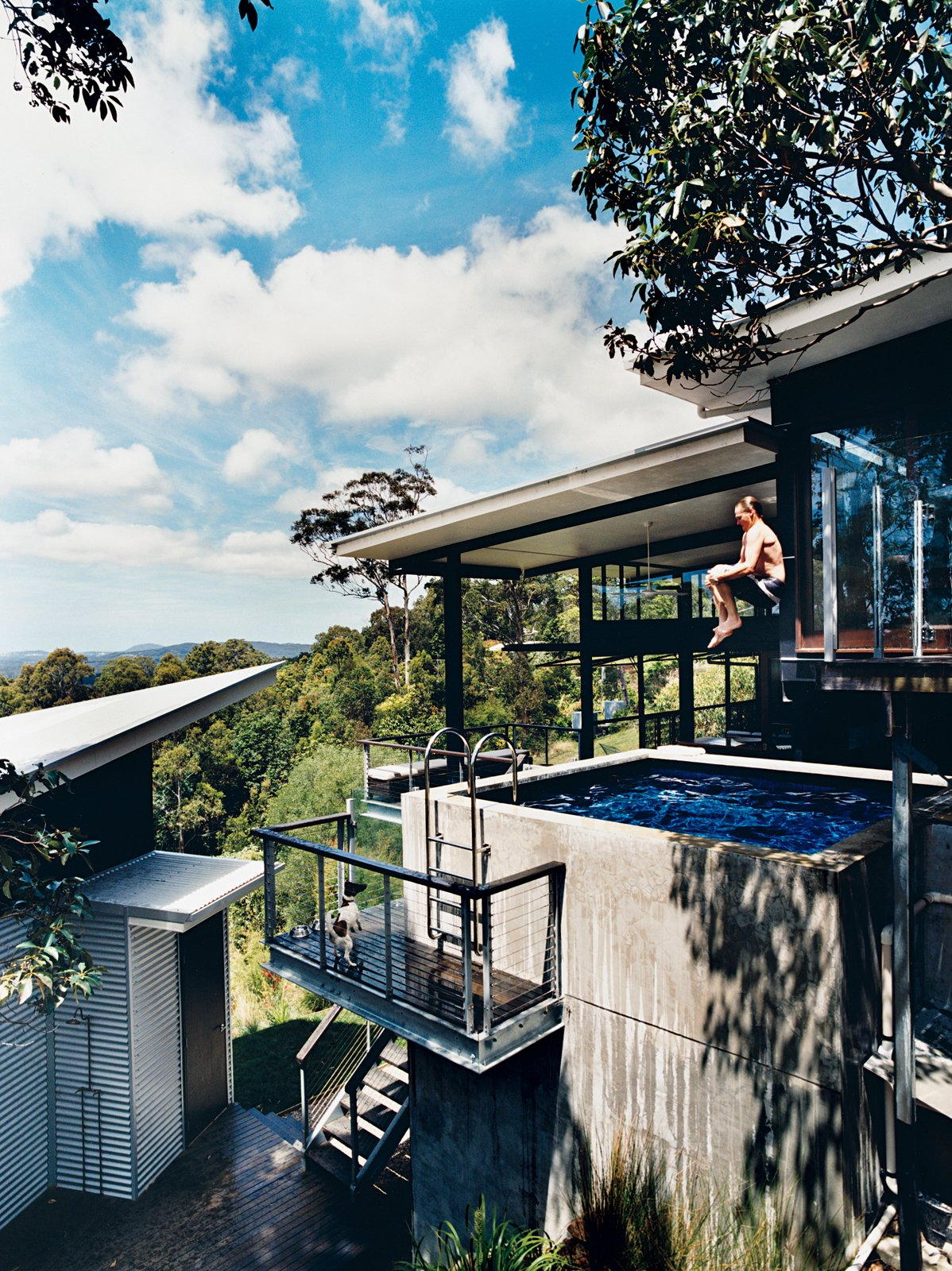 #outdoor #exterior #outside #pool #plungepool #australia #jumpin #hillside #watersource #firefighting  Photo courtesy of Richard Powers   Daring Hillside Homes by Diana Budds from Pools