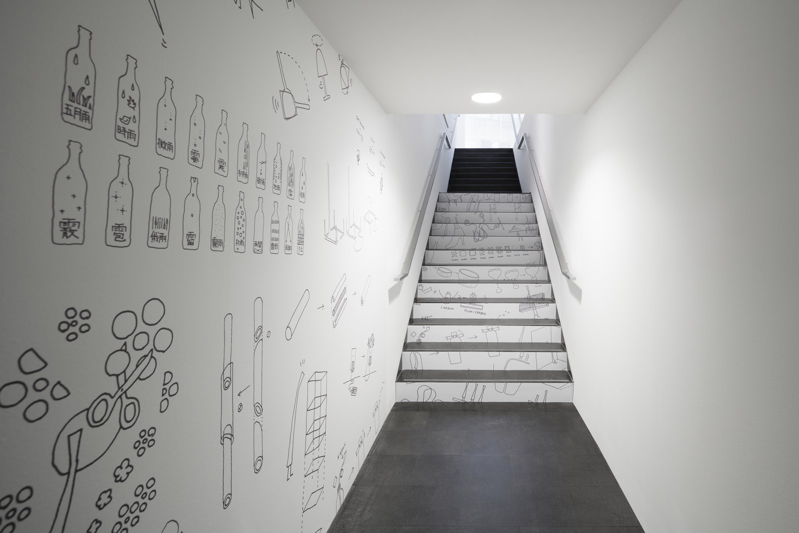 Oki Sato's sketches line a hallway and staircase in the museum.  Photo 8 of 8 in Nendo's Minimalism Meets Ron Arad's Sweeping Curves