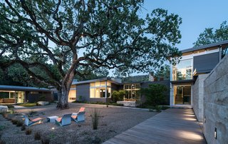 """The lone valley oak in some ways defined the shape of the house,"" says landscape architect Bernard Trainor. The structure wraps around the century-old tree, forming a courtyard with a series of fiber-cement chairs by French designer Julia von Sponeck."