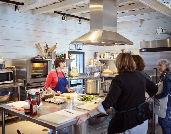 The Powisset barn's state-of-the-art learning kitchen hosts public classes on everything from jam-making to food security. Its aged floors and ceilings are packed with cellulose insulation.