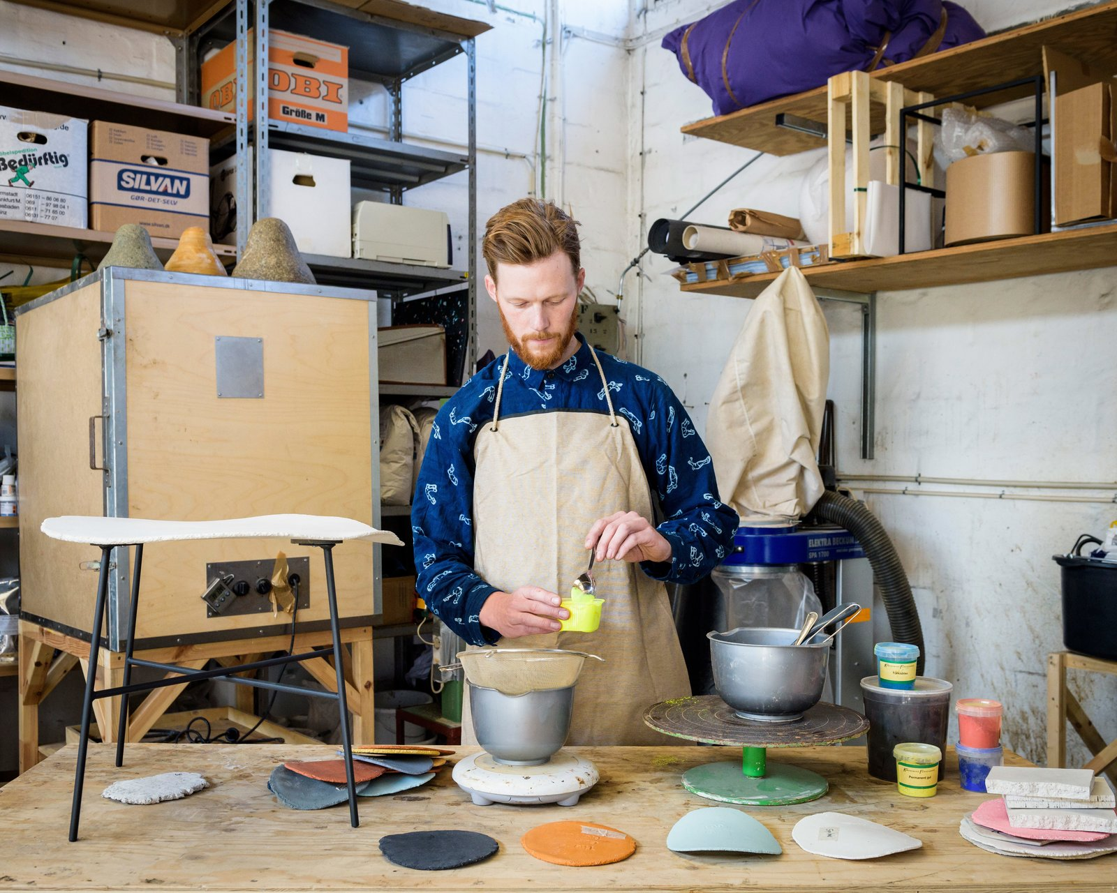 The designer working in his studio.  Photo 4 of 7 in Grow Your Own Designs Like Jonas Edvard