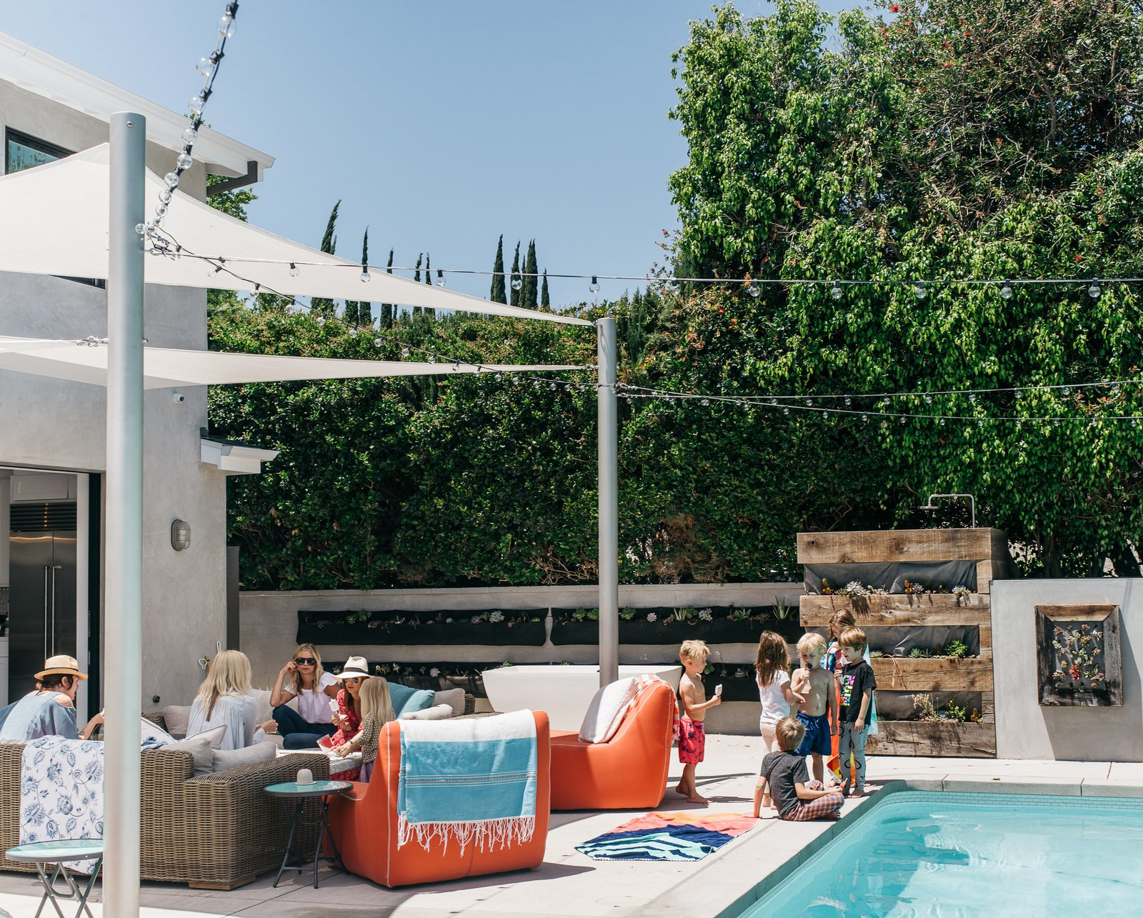 """Outdoor, Large Pools, Tubs, Shower, Swimming Pools, Tubs, Shower, Large Patio, Porch, Deck, and Concrete Patio, Porch, Deck """"Having a family house, with everyone together, was always Lena's goal,"""" says Broden.  Photo 9 of 15 in Lena Headey's Off-Camera Castle"""