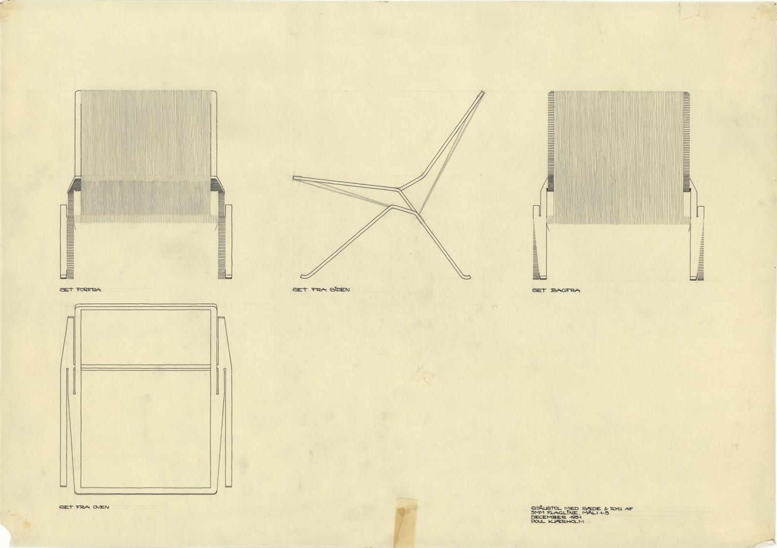 In 1951, the 23-year-old Kjærholm completed his first chair that would go into production: the PK25. The chair's frame is constructed using only one piece of steel and the seat is made from flag rope. This began the designer's obsession with just focusing on the essentials to engineer his concepts into reality. The PK25 is bent from cuts made into the metal and the rope is woven very tight to provide support.  Photo 3 of 11 in 10 Things You Didn't Know About Poul Kjærholm