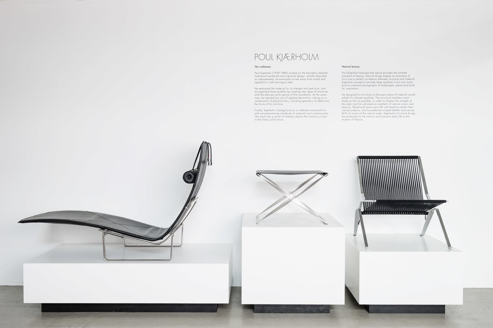 Exhibited between the PK24 and the PK25, the PK91 is Kjærholm's homage to the Danish designer Kaare Klint. As an influential professor at the Royal Academy of Fine Arts, Klint produced a number of important designs, most notably the Safari Chair in 1933. A stool by the professor made from the same material, canvas and wood, is said to have inspired Kjærholm to make his own folding stool in his preferred industrial materials.  Photo 10 of 11 in 10 Things You Didn't Know About Poul Kjærholm