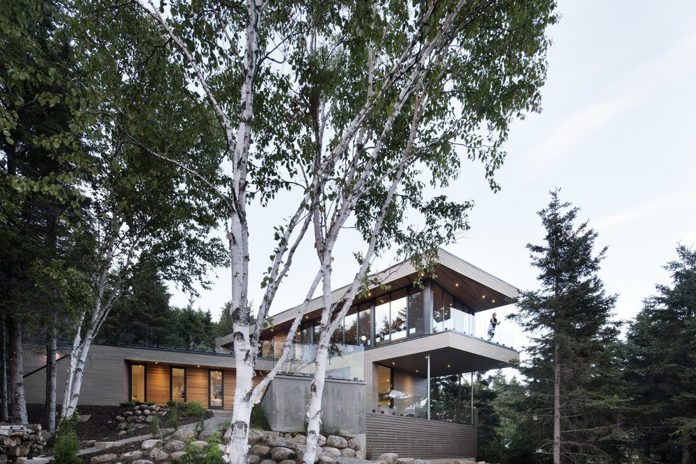 Slope, Trees, Exterior, House Building Type, Concrete Siding Material, and Wood Siding Material The south-facing facade looks out towards the forest.  Photo 6 of 6 in A Home Inspired by the Stars Soars Off the Ground