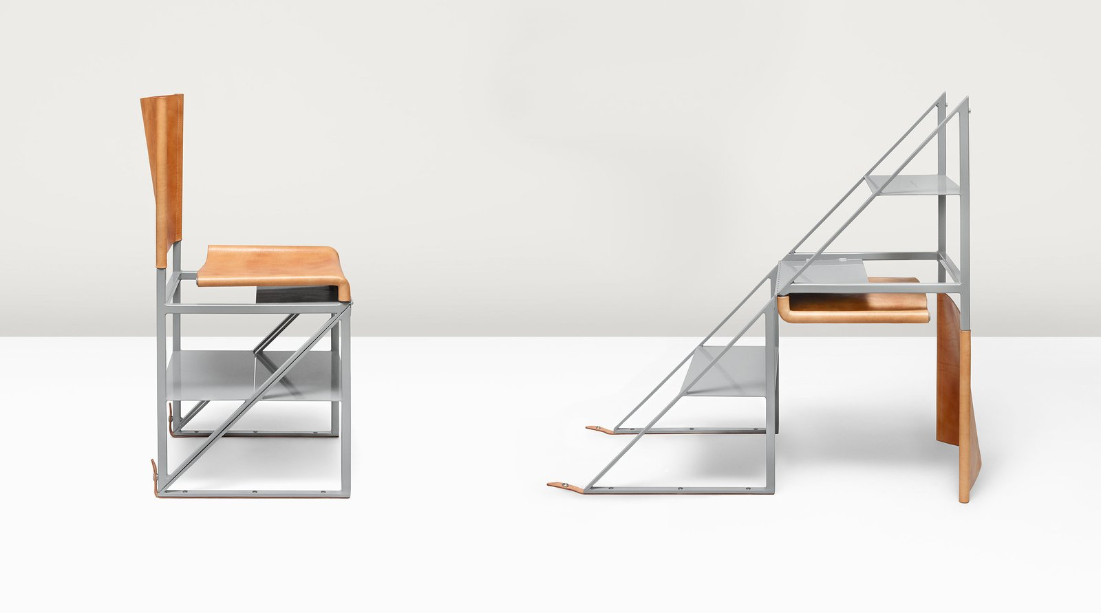 By turning the Stepladder Chair upside down and unfastening a pair of aged leather straps, users get three solid steel steps for reaching high shelves.  Photo 3 of 4 in What if Furniture Worked Like a Swiss Army Knife?