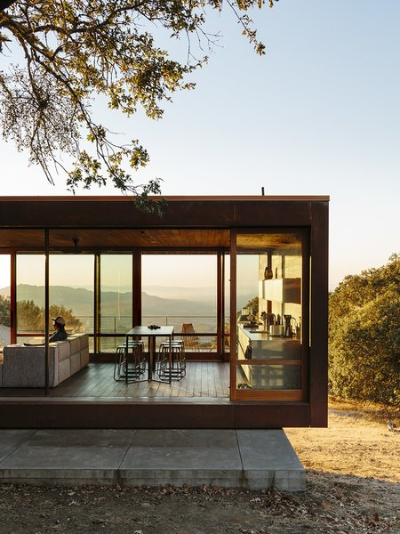 An exercise in simplicity, the Sonoma weeHouse consists of two steel-framed volumes with ipe interiors, oiled oak cabinetry, and massive sliding glass walls that overlook valley views.