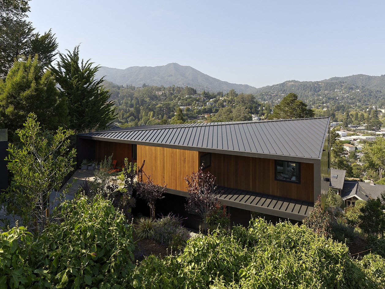 "Outdoor At the Mill Valley home designed by architect Chris Deam for residents Jack and Ellen Corrigan, the view begins from the top. Sun studies of the steeply sloped site informed the choice for a standing-seam metal, diagonal ridge roof, which Chris refers to as the home's ""fifth facade"".  Photo 1 of 15 in Moving Mountains"