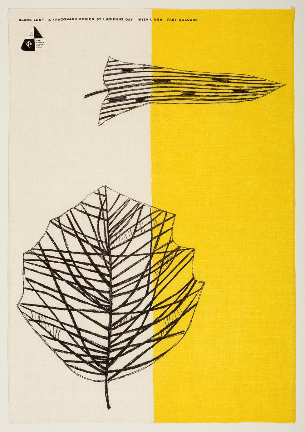 .Lucienne Day's Black Leaf tea towel for Thomas Somerset (1959) exemplifies her fascination with modern art and plant life. Image courtesy of The Robin & Lucienne Day Foundation. Collection of Jill A. Wiltse and H. Kirk Brown III, Denver.  Photo 5 of 5 in All in a Day's Work