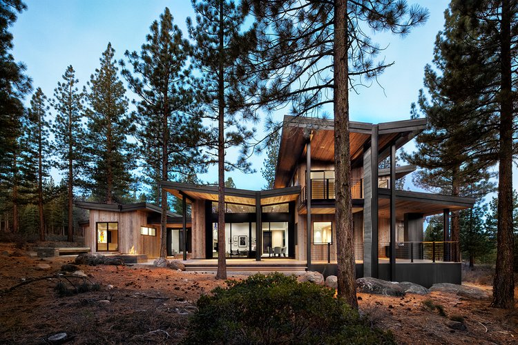 Exterior, Prefab Building Type, Wood Siding Material, and Butterfly RoofLine Project Name: Martis - Dunsmuir  Photo 2 of 20 in 19 Modern Prefab Companies Perfect for Mountain Living