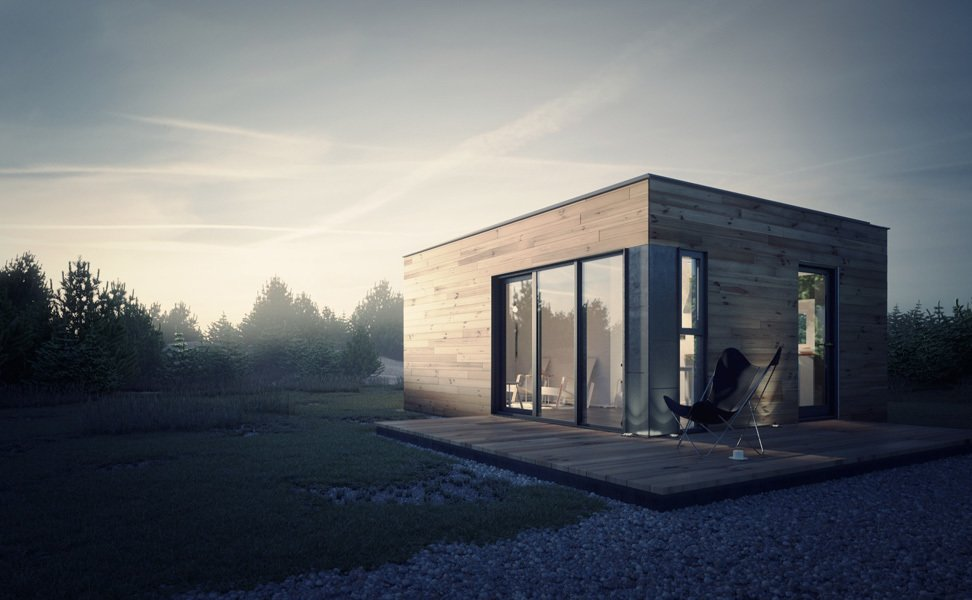 Exterior, Prefab Building Type, Wood Siding Material, and Flat RoofLine Project Name: ALP 320  Photo 11 of 21 in 20 Modern Prefab Companies Perfect for Mountain Living