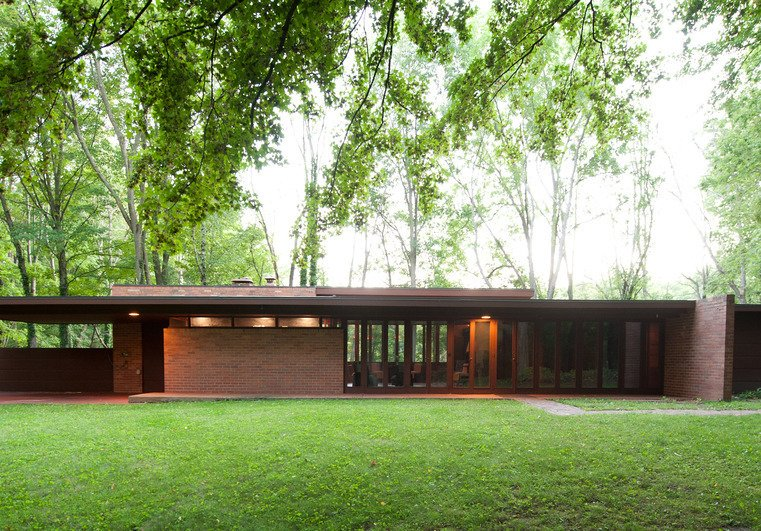 Exterior, Brick Siding Material, House Building Type, and Flat RoofLine Michigan State Historic Preservation Office, photo by Steve Vorderman  Photo 10 of 10 in 10 Frank Lloyd Wright Buildings We Love