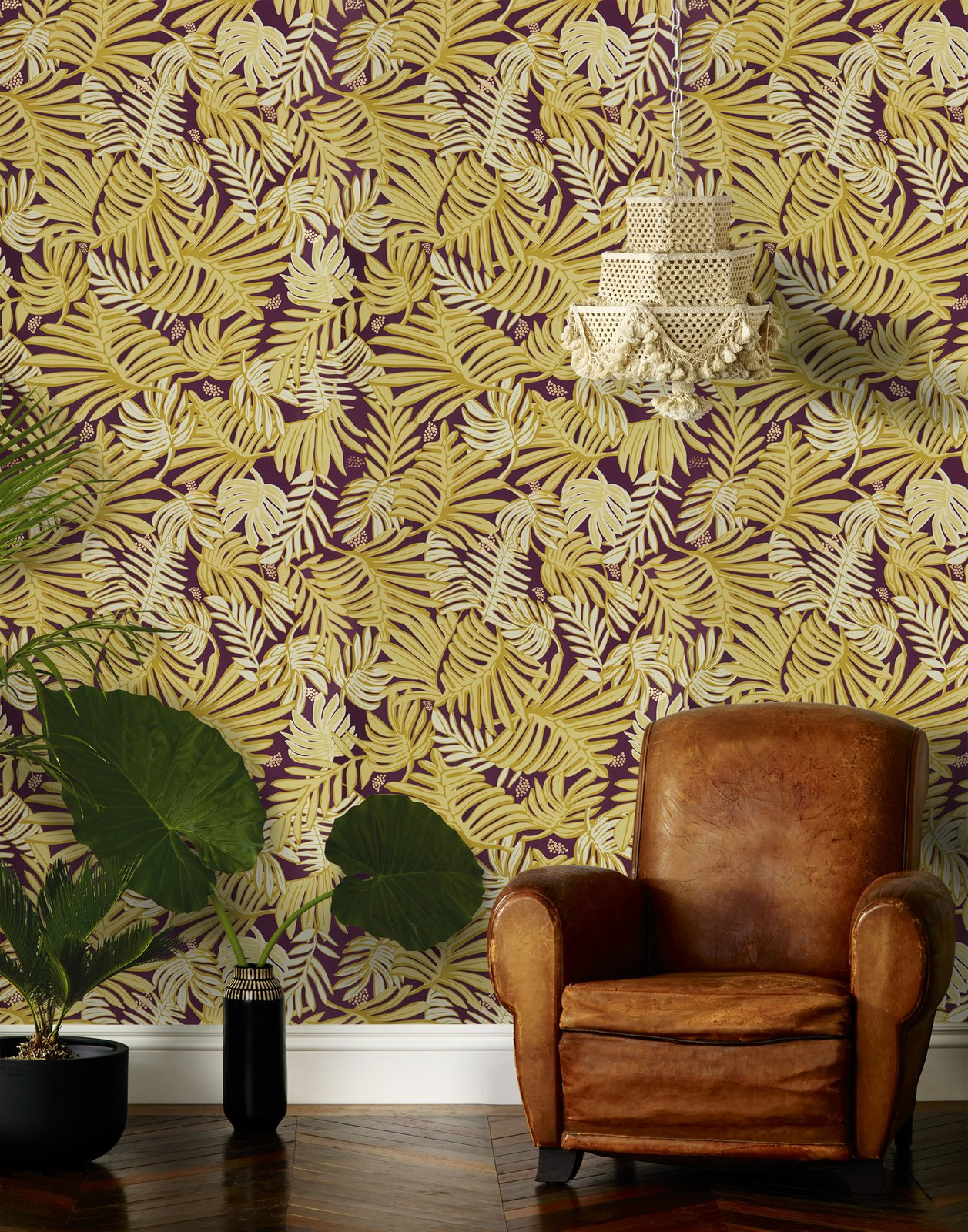 Living Room, Chair, Medium Hardwood Floor, and Pendant Lighting Aja (Aubergine) wallpaper, designed by Justina Blakeney for Hygge & West  Photo 2 of 14 in 7 Wallpaper Designs That Will Instantly Revamp Your Space