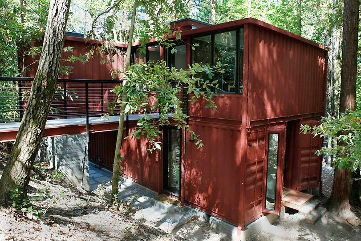 Exterior, Shipping Container Building Type, Prefab Building Type, Metal Siding Material, and Metal Roof Material Project Name: Six Oaks  Photo 9 of 17 in 16 Prefab Shipping Container Home Companies in the United States
