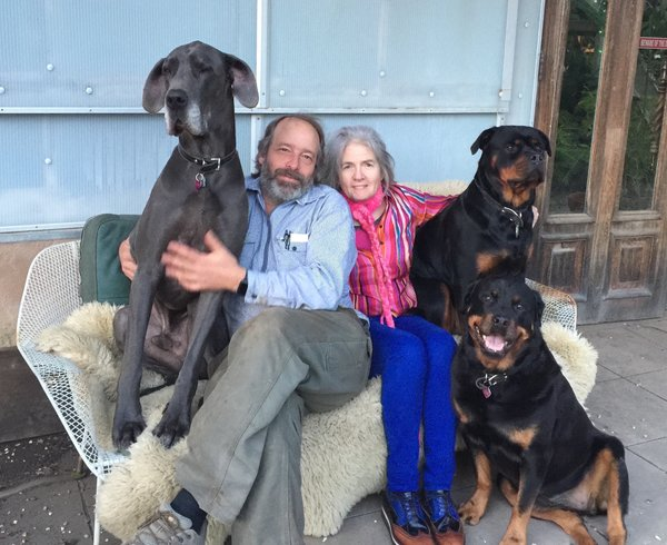 Shively and Fitzpatrick are shown here with their three dogs that roam the property in West Marin, California.  Photo 2 of 10 in Creatives of the Bay Area Series: Evan Shively and Madeleine Fitzpatrick