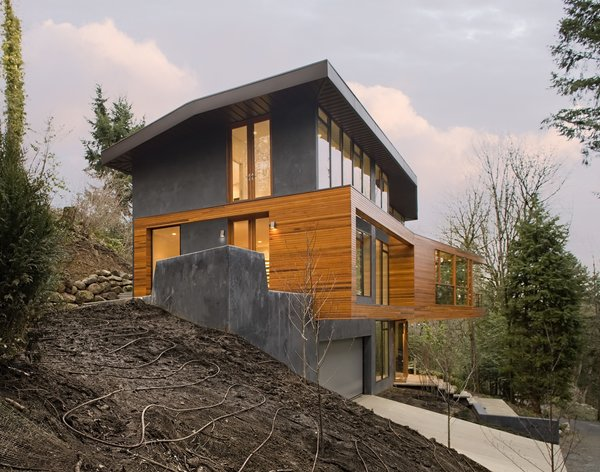 Exterior and House Building Type Skylab Architecture cantilevered the living volumes in order to minimize the building's footprint and to create a tree house-like experience for the residents.  Photo 5 of 16 in 10 Modern Homes That Made a Star Appearance in Films