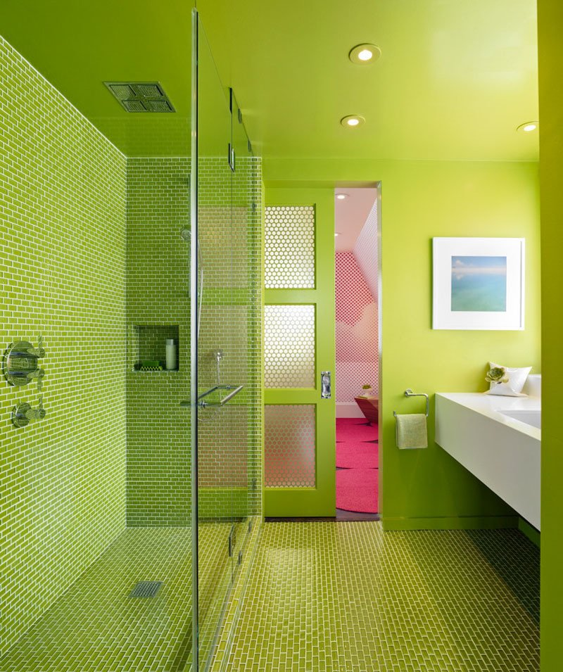 Bath Room, Enclosed Shower, Full Shower, Undermount Sink, Recessed Lighting, and Ceiling Lighting Green works its magic for Min Day in this bathroom, which contrasts with the bright pink bedroom beyond.  Photo 2 of 11 in These 10 Designers Are Experts at Creating Colorful Bathrooms That Pop