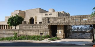 The Ennis House is the largest of Wright's textile block designs and was constructed primarily of interlocking, pre-cast concrete blocks.