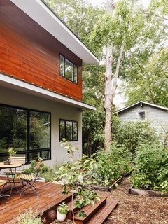 """The windows are by Jeld-Wen, and the metal roof is by Galvalume. """"I feel lucky to contribute to the architectural diversity in the neighborhood with something truly of this moment that got built despite the odds,"""" says Marsha."""