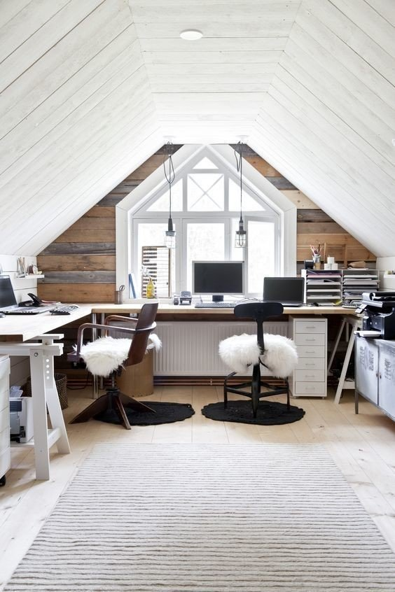 Increase attic workspace functionality by using furniture than can be easily moved and/or serves multiple purposes.  Photo 6 of 10 in 10 Ways to Create a Modern Workspace in Your Attic