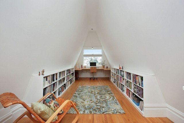 This 1900s attic was converted into a reading room and workspace.  Photo 9 of 10 in 10 Ways to Create a Modern Workspace in Your Attic
