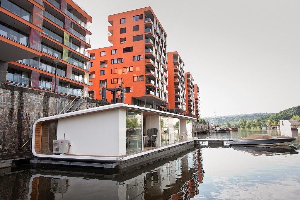 floating homes single level prefab floating home docked at bay