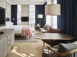 Designed by Anda Andrei and Danish interior design firm Space Copenhagen, 11 Howard in New York City bears the Bauhaus DNA of warm Scandinavian minimalism and New York industrial sleekness.