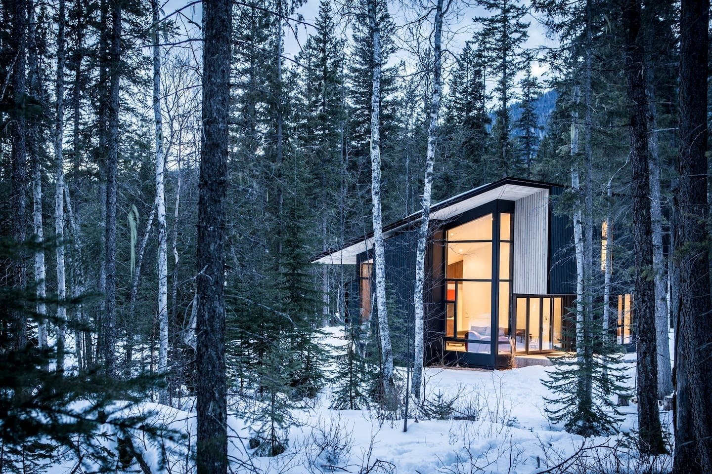 Just ten minutes away from Quebec's popular ski area – Le Massif de Charlevoix, this Scandi-inspired cabin is much larger than it looks, and can comfortable accommodate up to 14 guests.  Photo 1 of 10 in Get Back to Basics by Staying at One of These Modern Cabins
