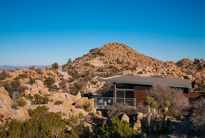 Set high in the desert of Yucca Valley, California, this pre-engineered steel cabin is part of an environmentally-conscious design system that was created by Blue Sky Building Systems and o2 Architecture.  Photo 4 of 10 in Get Back to Basics by Staying at One of These Modern Cabins
