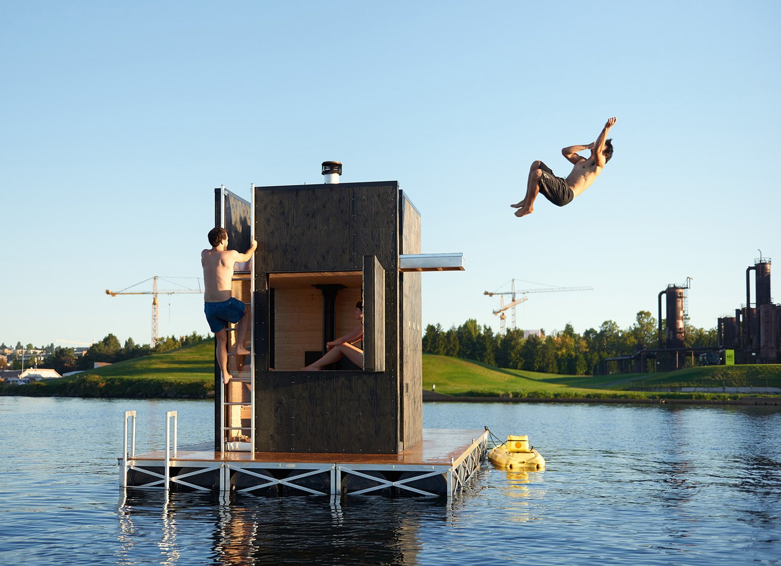 Shed & Studio Bathers can easily exit the structure and dive into the cool water via the door or the side hatch.  Best Shed & Studio Photos from Escape to One of These 10 Otherworldly Outdoor Saunas
