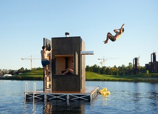 Bathers can easily exit the structure and dive into the cool water via the door or the side hatch.