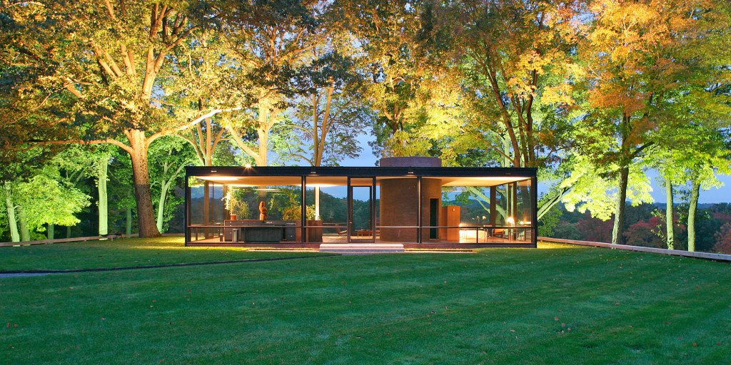 The house that started it all: Philip Johnson's Glass House in New Canaan, Connecticut. He and David Whitney used to invite great minds from the architecture, design, and art worlds to visit the house for evenings of discussion and debate. When the Glass House opened to the public in 2007, its programmers continued the invite-only tradition.  Photo 2 of 8 in There's No Shortage of Glass in These 7 Homes Designed by Philip Johnson