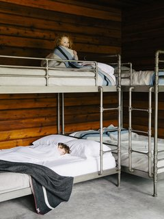 Bruce sourced the Restoration Hardware bunk beds (Mina, 3, claims top).
