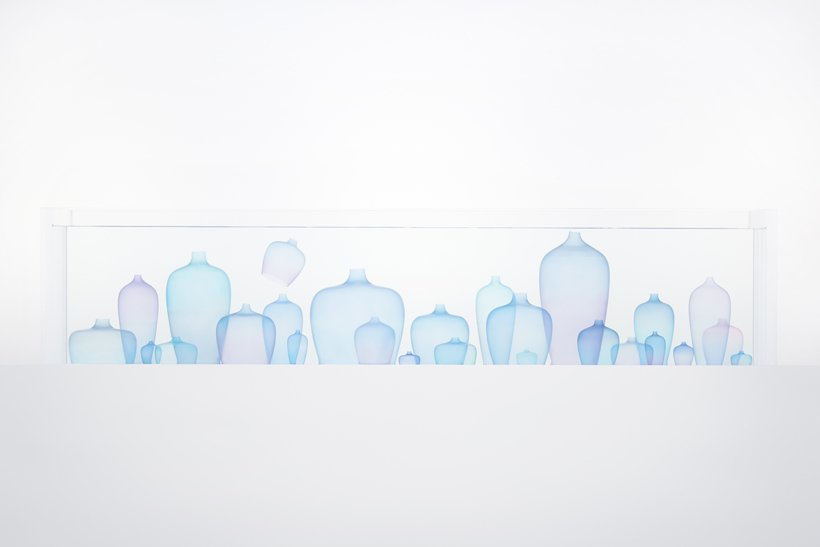 Exhibited at Jil Sanders Jellyfish Vases, by Oki Sato of Nendo, are made of ultra-thin transparent silicon that is dyed twice. Exhibited at Jil Sander in Milan.  Photo 6 of 11 in The Best Things We Saw at Milan Design Week 2017