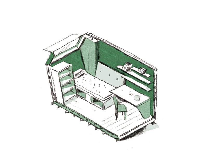 The students came up with three proposals for a senior women's shelter, which they  synthesized into a single design based  on a 92-square-foot module.  Photo 2 of 3 in How to Get Architecture School Student Ideas From Concept to Reality